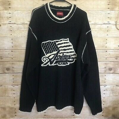 Avirex Men's USA 2XL American Flag Embroidered Knit Wool Blend Sweater Oversized