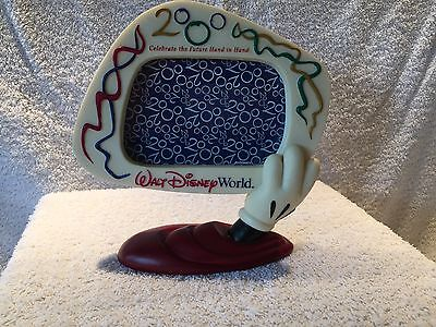 """Walt Disney World 2000 Picture Frame Mickey Mouse Future Hand In Hand 7"""" Tall"""
