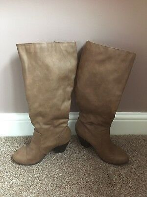 79aa000b05b Ladies Womens Brown Heeled Knee High Boots Size UK 3 Euro 36 From New Look