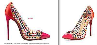 ec5f3484bb6a HOT Christian Louboutin Spike Me Clear PVC Candy Studs Cap Toe Pink Pumps   1300!