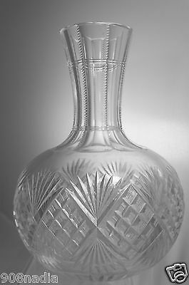 Vintage Cut Glass Or Crystal Water/wine Carafe/decanter Pineapple/fan Pattern
