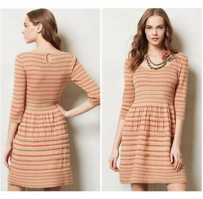 4d850fbe833 Knitted Knotted Anthropologie Tan Orange Elodie Striped Wool Sweater Dress  Sz M