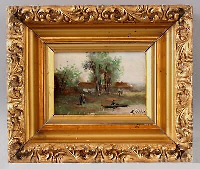 Antique French Barbizon Impressionist Landscape Figures Miniature Oil Painting