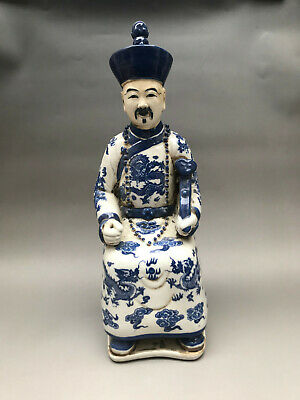 Collection Chinese hand carving Blue and white porcelain Minister statue