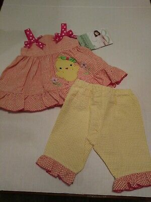 77ab7a99ac8 NEW BONNIE JEAN Girls EASTER Outfit Set Gingham CHICK APPLIQUE Size 12  Months