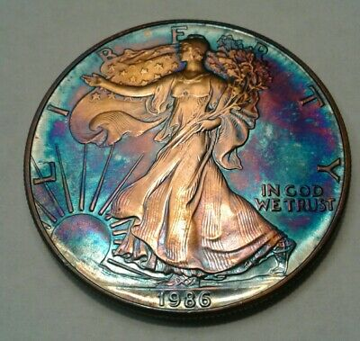 1986   american silver  eagle  with beautiful toning, * TONED $