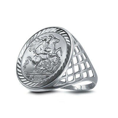 Jewelco London Sterling Silver St George Dragon Slayer Full-Sovereign-Size Ring