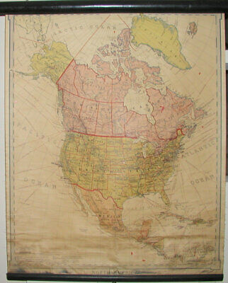 Selling Inventory....1919 Denoyer Geppert School Map Of North America-Roll Up
