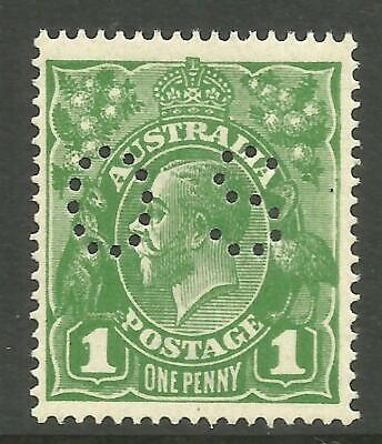 KGV - 1d Sage-Green 'OS' (Single w/m) *RA JOINED* *MINT UNHINGED* (CV $200+)