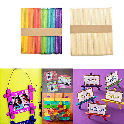 50X Large Wooden Popsicle Sticks Kids Hand Crafts Ice Cream Lolly DIY Mak Gk