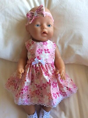 """Doll Clothes to fit 17"""" Baby Born doll ~ Dress & hband  ~ Pink Japanese Flowers"""