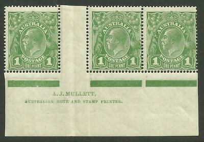 KGV - 1d Sage-Green *MULLETT STRIP of 3* with 'RA of AUSTRALIA joined' (CV $150)