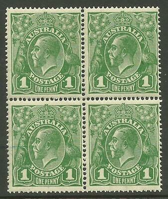 KGV - 1d Sage-Green (Single w/m) *BLOCK of 4* with 2 VARIETIES (CV $150+)