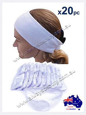 20Pcs White Toweling Headband Head Band Salon Spa Facial Sport Gym Hair Bands