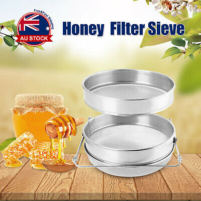 Honey Strainer Stainless Steel Double Sieve Beekeeping Equipment Filter Kit A