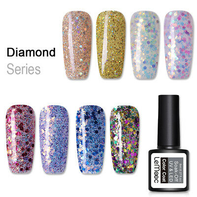 LEMOOC 8ml Glitter Soak Off UV Gel Sequins Gel Polish Shimmer Nail Art Varnish