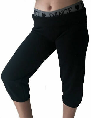 Childrens Dance Joggers Girls Cropped Tracksuit Bottoms Roll Up Cuff Black
