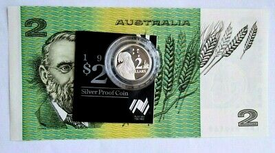 1985  The Last $2 Unc  Banknote  & 1988  The First $2 PROOF Ag coin