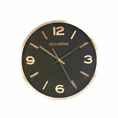 Hometime Aluminium Wall Clock Copper Finish Black Dial 30cm - W7320