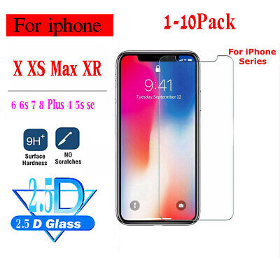 1-10X Scratch Resist Tempered Glass Screen Protector for iphone 8 7 6S Plus Lot