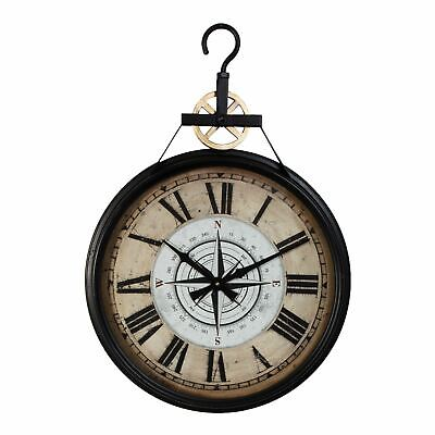 Hometime Metal Wall Clock Roman Dial - Black 65cm - W7434