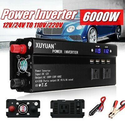 6000W Car LED Solar Power Inverter DC 12/24V to AC 110/220V Sine Wave Converter