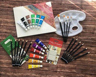 Artists all-in-one paint set, canvas, acrylics, palette, brushes, Painting set