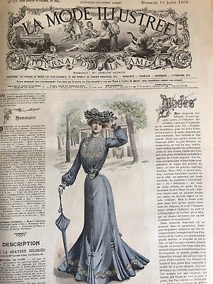 French MODE ILLUSTREE SEWING PATTERN July 13,1902 ROBE EN TOILE