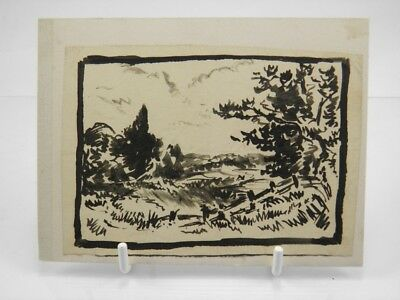 Drawing Antique Ink Landscape Scene Port Fisherman Ernest Duez Xixth Art