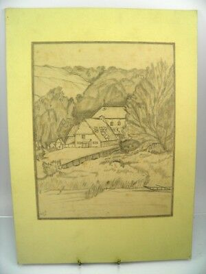 Antique early 20th century pencil drawing Streatley Mill Berkshire