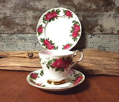 "Paragon China Tea trio  ""Six World Famous Roses"" Oriana"