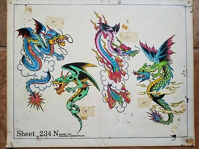 vintage '75 huck s&r produx tattoo monster dragon asian japnese flash, rk color