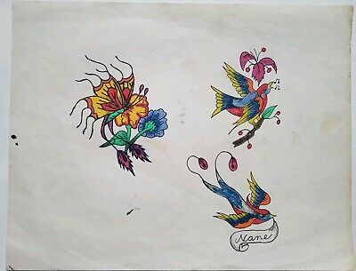 vintage 80s produx biker flower butterfly freaky tattoo flash colors canada 9x11
