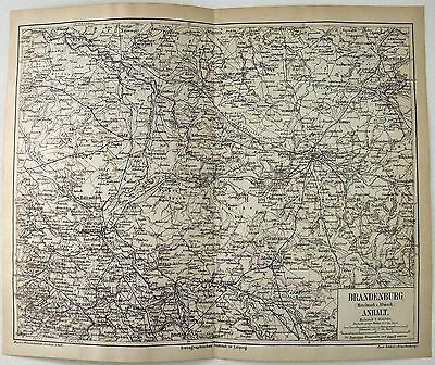 Original 1874 Map of The Province of Brandenburg. Germany. Antique