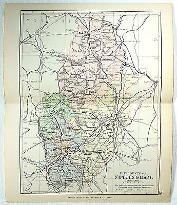 Original 1891 Map of The County of Northampton, England by G. Philip. Antique