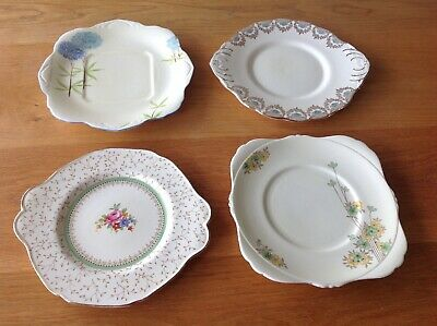 Four Vintage China Cake / Sandwich Plates Mismatch Cream Floral Special Occasion
