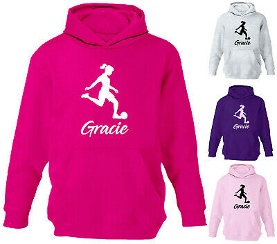 Personalised Girls Football Hoodie Childrens Footie Soccer Hoody Sport Jumper