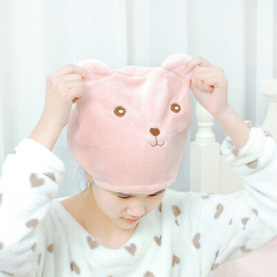 1pc Cute Bear Shower Cap Hair Wrapped Towels Microfiber Bath Hats Dry Hair Ca gN
