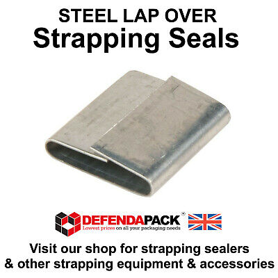 2000 19mm x 25mm Lap Over Seals Steel Strapping Pallet Banding Reels Clips LAP19