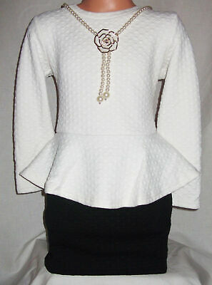 GIRLS CLASSIC WHITE BLACK CONTRAST QUILTED PEPLUM FORMAL PARTY DRESS age 7-8