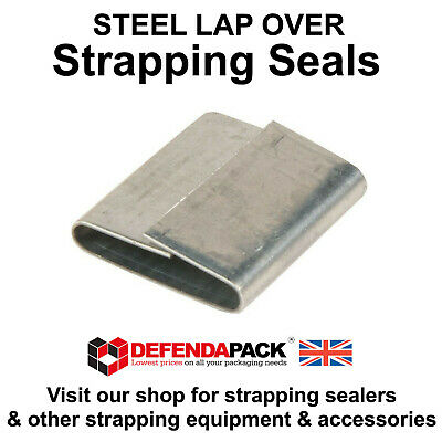 500 x 32mm x 57mm Lap Over Seals Steel Strapping Pallet Banding Reels Clips