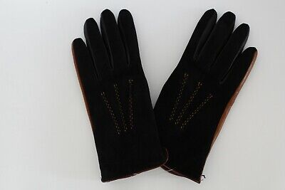 SIM ITALIAN GLOVES  Women's Genuine leather Suede Black/Brown,Size 7.5,BNWT,$130