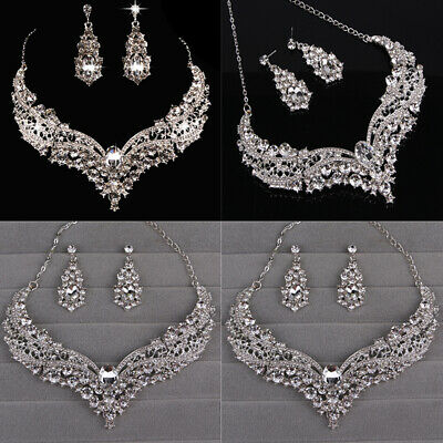 Prom Wedding Party Bridal Jewelry Diamante Crystal Pearl Necklace Earrings Sets