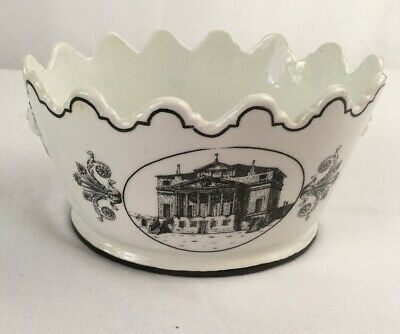 Mottahedeh Scalloped Planter Italy Vintage White With Black Design Some Chips