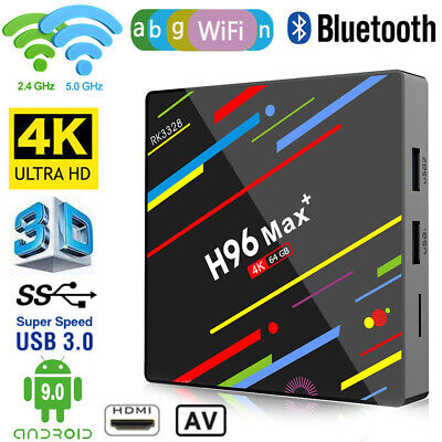 H96 MAX+ Android 9.0 Smart TV BOX Quad Core HDMI USB Media 4K WiFi Movies Player