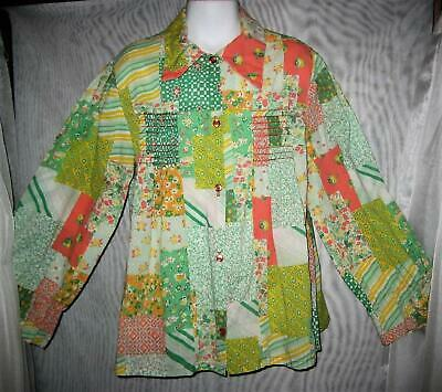 Vtg 60s/70s Girls Sz 10? Cute Cotton Floral/Geometric Patchwork Smock Top VGC