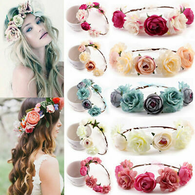 Flower Headband Head Garland Hair Band Crown Wreath Festival Boho Hippy Wedding