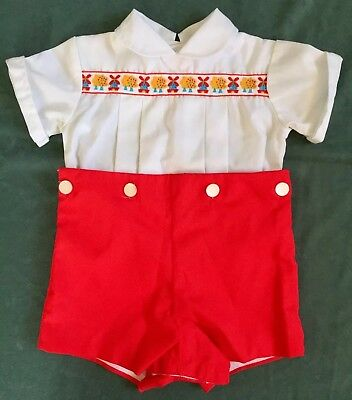 Vtg Baby 2 Pc Romper 18 mo Red White Windmill Embroidery Farmhouse High Waisted