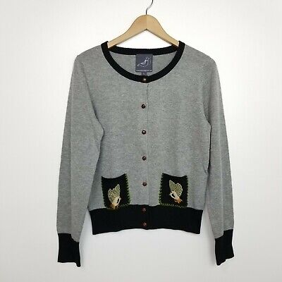 6a433886a53 Knitted Dove Modcloth Womens Gray Bird Embroidered Cardigan Sweater Large
