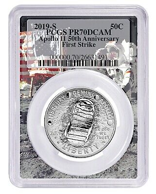 2019 S Apollo 11 50th Anniversary Proof Clad Half Dollar PCGS PR70 First Strike
